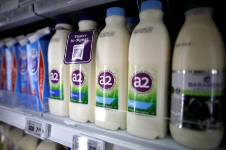 FILE PHOTO: A2 milk is seen on a supermarket shelf in Singapore April 16, 2018. REUTERS/Thomas White
