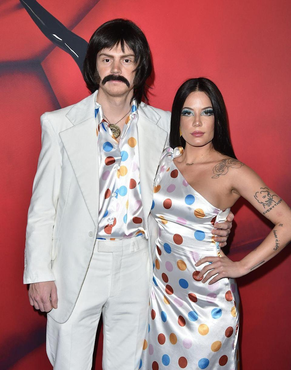 """<p>Halsey and <a href=""""https://www.cosmopolitan.com/entertainment/celebs/a28510272/who-is-evan-peters-halsey-new-boyfriend/"""" rel=""""nofollow noopener"""" target=""""_blank"""" data-ylk=""""slk:Evan Peters"""" class=""""link rapid-noclick-resp"""">Evan Peters</a>' relationship may not have lasted long, but it was iconic, 'mmkay? Halsey p much put her undying love for Evan out into the universe back in 2013 when she tweeted """"petition for Evan Peters to date me,"""" so kudos to her for making it happen. They <a href=""""https://www.cosmopolitan.com/entertainment/celebs/a29598099/halsey-evan-peters-instagram-official-dating/#:~:text=Late%20last%20month%2C%20the%20community,are%20very%20much%20a%20thing."""" rel=""""nofollow noopener"""" target=""""_blank"""" data-ylk=""""slk:did a couples' Halloween costume last year"""" class=""""link rapid-noclick-resp"""">did a couples' Halloween costume last year</a> (pictured), but when Halsey mysteriously deleted all her pics of Evan from her Instagram feed in March, fans concluded that they were done. </p>"""