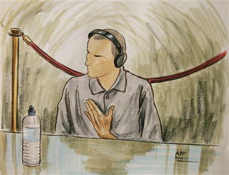 Courtroom drawing of detainee Hearings Continuing At Guantanamo Bay.