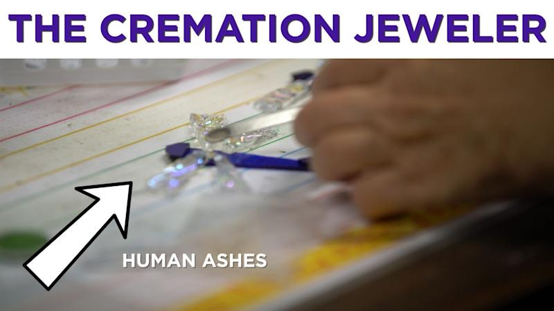 This woman makes jewelry from cremation ashes.