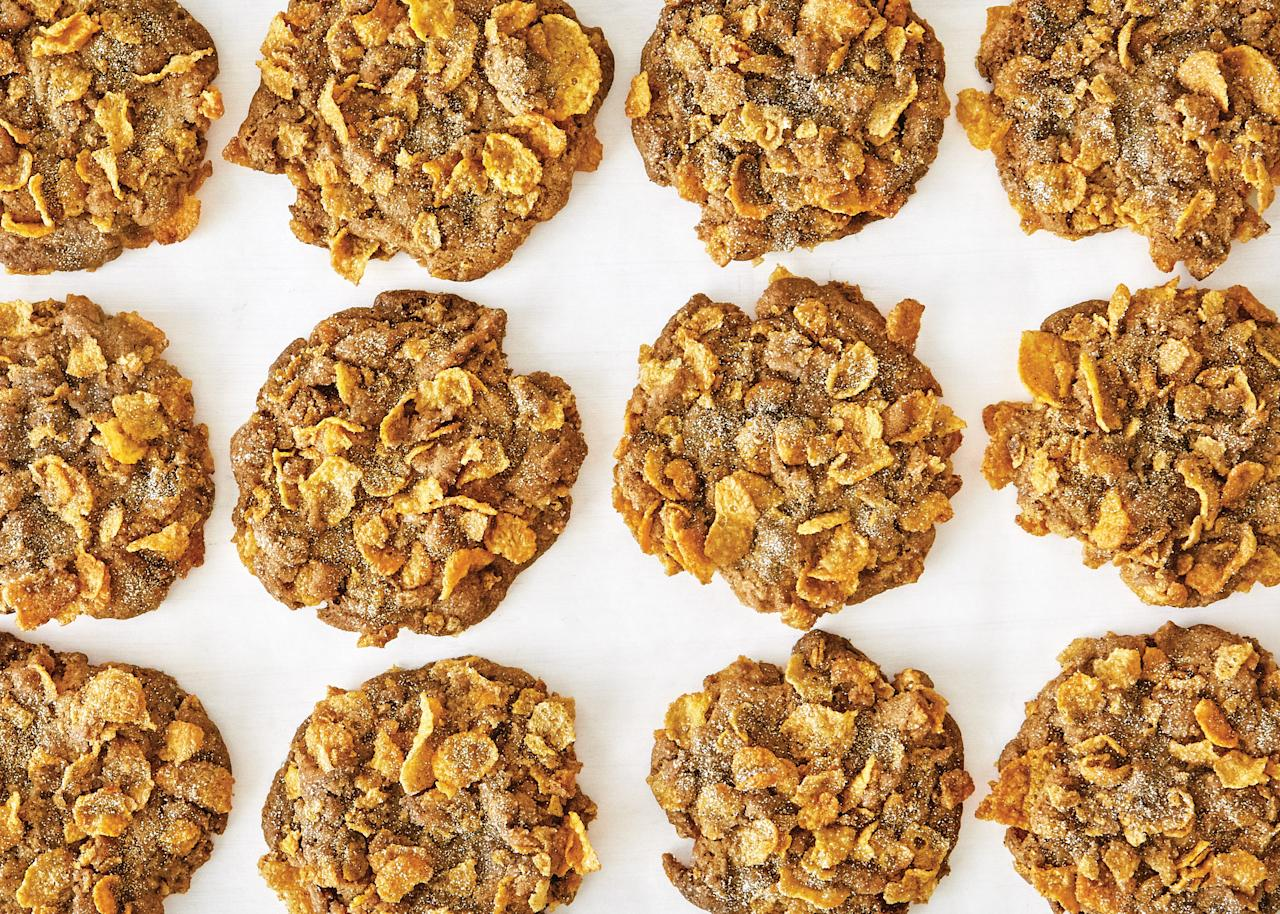 """We helped the old-fashioned snickerdoodle get party-ready by upping the spices (cinnamon, cardamom) and adding texture with toffee, cornflakes, and a sparkly finish. <a href=""""https://www.bonappetit.com/recipe/snickerdoodle-party-cookies?mbid=synd_yahoo_rss"""">See recipe.</a>"""
