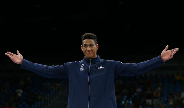 2016 Rio Olympics - Boxing - Victory Ceremony - Men's Super Heavy (+91kg) Victory Ceremony - Riocentro - Pavilion 6 - Rio de Janeiro, Brazil - 21/08/2016. Gold medallist Tony Yoka (FRA) of France reacts. REUTERS/Peter Cziborra FOR EDITORIAL USE ONLY. NOT FOR SALE FOR MARKETING OR ADVERTISING CAMPAIGNS.