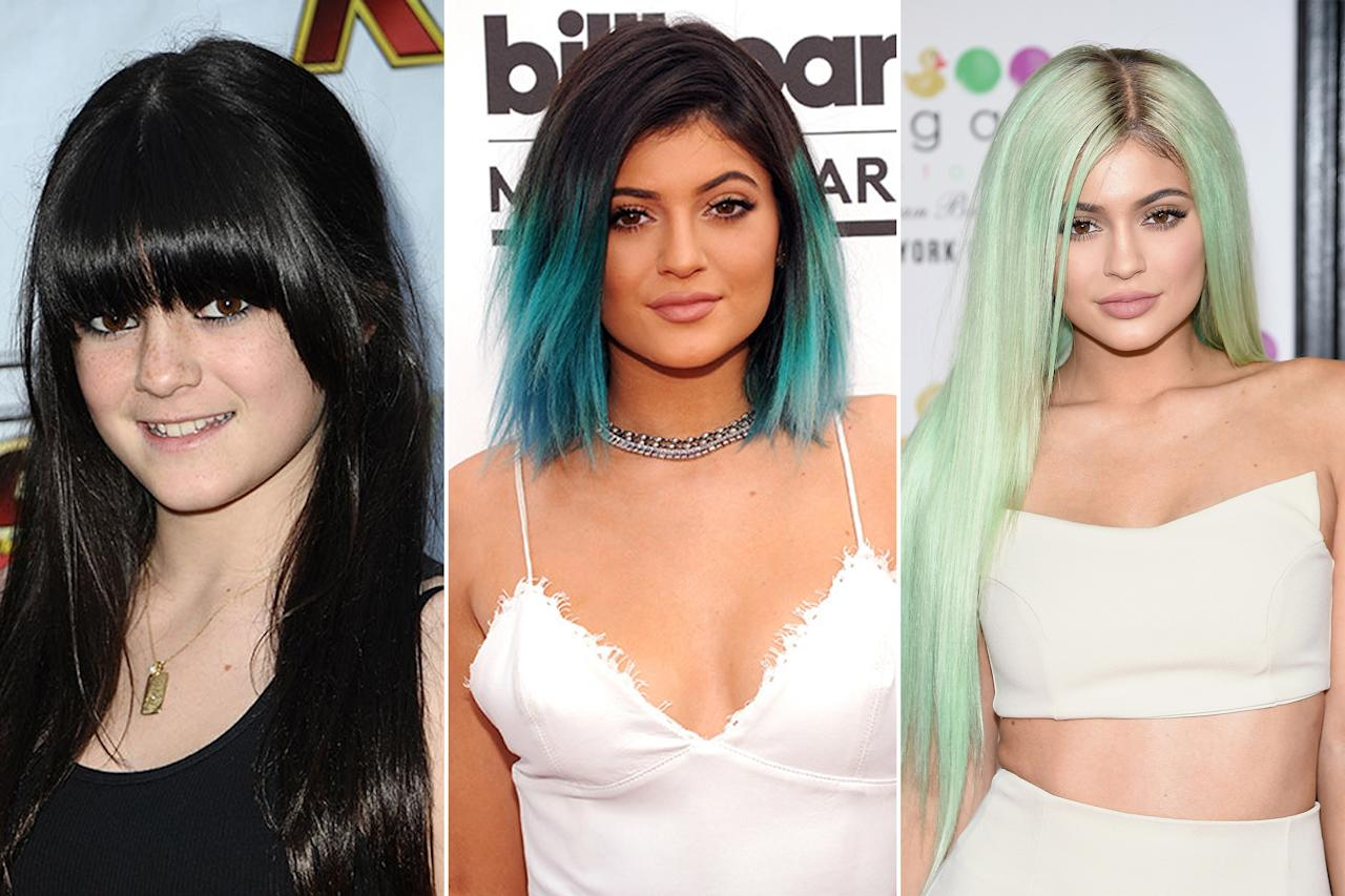 """<p>Lots of people have been talking about <a rel=""""nofollow"""" href=""""http://www.teenvogue.com/about/kendall-jenner?mbid=synd_yahooentertainment"""">Kendall Jenner</a> lately. She does things like <a rel=""""nofollow"""" href=""""http://www.teenvogue.com/fashion/2014-03/kendall-jenner-chanel-fashion-show-model?mbid=synd_yahooentertainment"""">walk in fashion shows</a>, <a rel=""""nofollow"""" href=""""http://www.teenvogue.com/celebrity-style/red-carpet/2014-06/kendall-jenner-mmva?mbid=synd_yahooentertainment"""">wear revealing dresses</a>, and <a rel=""""nofollow"""" href=""""http://www.teenvogue.com/fashion/2014-06/kendall-jenner-givenchy-campaign?mbid=synd_yahooentertainment"""">land Givenchy campaigns</a>.</p> <p>But let's not forget the other fabulous Jenner sister, shall we? <a rel=""""nofollow"""" href=""""http://www.teenvogue.com/about/kylie-jenner?mbid=synd_yahooentertainment"""">Kylie</a> is a force of her own, with <a rel=""""nofollow"""" href=""""http://www.instagram.com/kyliejenner?mbid=synd_yahooentertainment"""">27 million Instagram followers</a> and a style that's distinctly downtown Los Angeles. Kendall may be stalking the catwalks, but that doesn't mean Kylie's at all behind on the trends—in fact, as you're about to see, she's often ahead of them.</p> <p>But more than her fashion, we love Kylie for her frequent hair experiments, like the: <a rel=""""nofollow"""" href=""""http://www.teenvogue.com/beauty/hair/2014-05/short-haircut-inspiration?mbid=synd_yahooentertainment&slide=1"""">chop</a>, <a rel=""""nofollow"""" href=""""http://www.teenvogue.com/beauty/celebrity-beauty/2014-06/kylie-jenner-natural-hair-color?mbid=synd_yahooentertainment"""">ombré</a>, and <a rel=""""nofollow"""" href=""""http://www.teenvogue.com/beauty/celebrity-beauty/2014-05/kylie-jenner-blue-hair-color?mbid=synd_yahooentertainment"""">unexpected dye jobs</a> (girl made blue look <em>good</em>). Click through the slideshow to chart her full beauty evolution, and watch as the star comes into her own.</p>"""