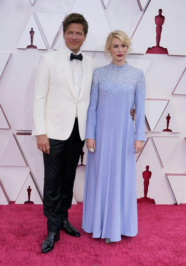 Thomas Vinterberg, left, and Helene Reingaard Neumann at the 93rd Academy Awards