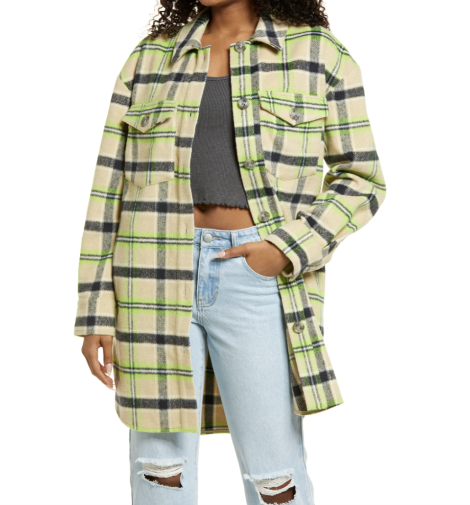 model wearing green and beige BP. Brushed Plaid Oversize Shirt Jacket and jeans