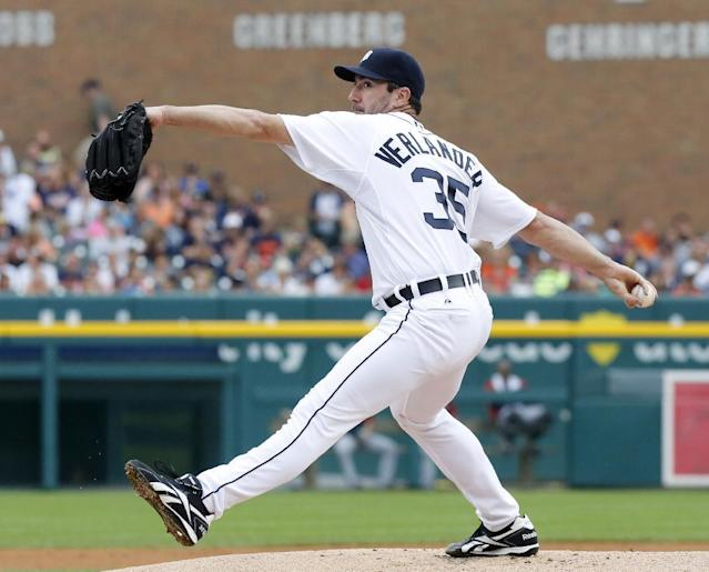Detroit Tigers starter Justin Verlander pitches against the Cleveland Indians in the first inning of a baseball game on Sunday, Sept. 1, 2013, in Detroit. (AP Photo/Duane Burleson)