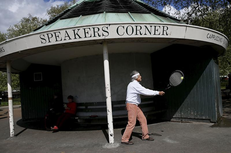 A man uses a tennis racket at Speakers' Corner in Hyde Park, London, Britain May 3, 2015. At Speakers' Corner in the northeast corner of Hyde Park in London, near the bustle of Oxford Street, anyone has the right to turn up every Sunday and talk about whatever is dear to their heart. Some call it the home of free speech: previous orators included famous figures Vladimir Lenin, Karl Marx and George Orwell.  (Photo: Stefan Wermuth / Reuters)
