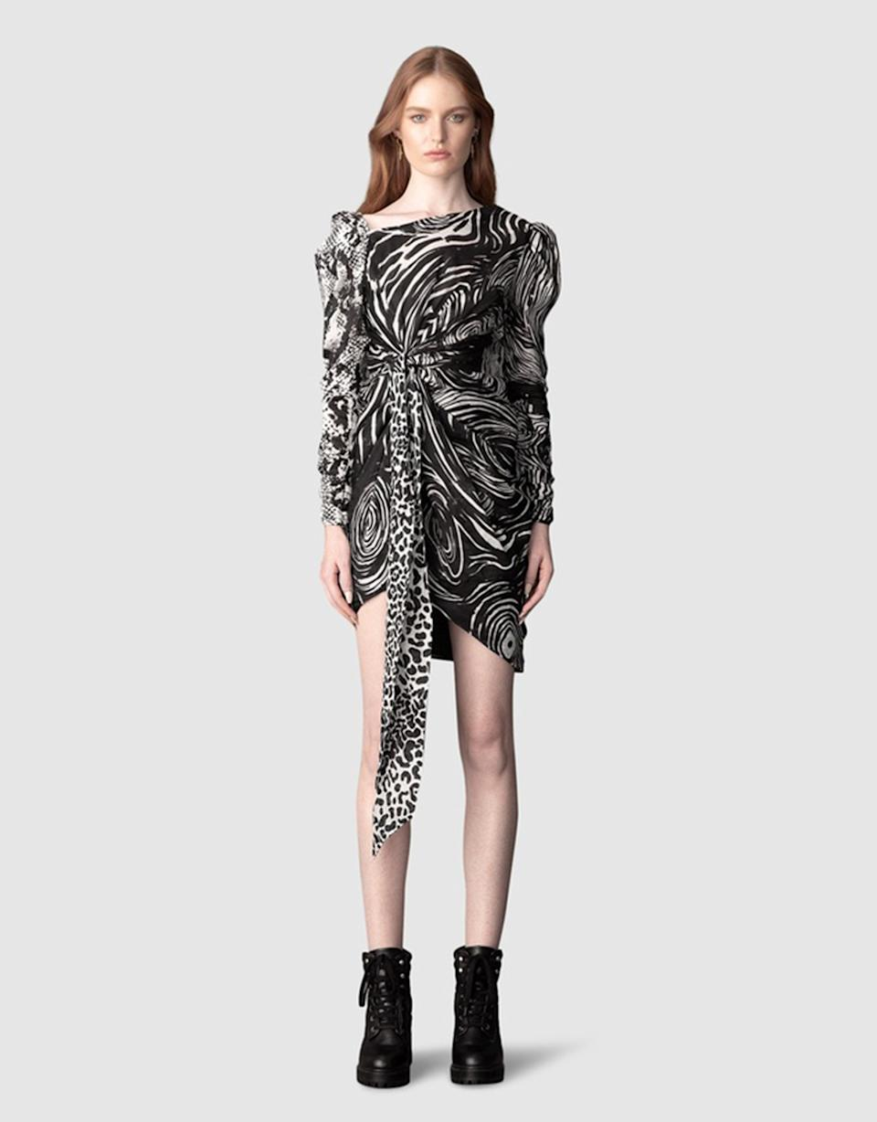 Leo Lin Animalia Night Knotted Mini Dress, $199.50 from The Iconic. Photo: The Iconic.