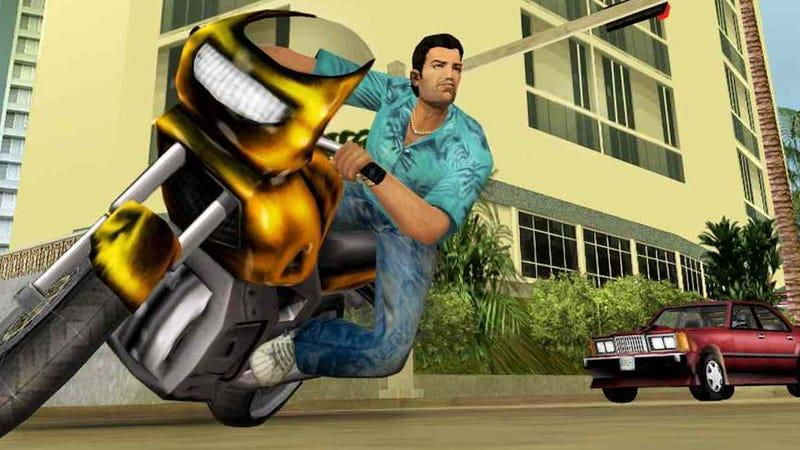 Tommy from Vice City riding a motorcycle.
