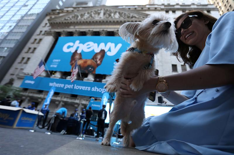 Stewie the Yorkie Chihuahua is seen outside the New York Stock Exchange ahead of the IPO for Chewy Inc. in New York City U.S