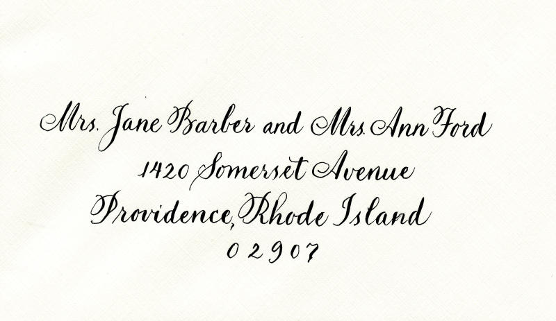 """This undated photo provided by Jan Boyd, a calligrapher and illustrator in Boston, depicts the proper way to address two married women with different last names. The """"and"""" signifies the two people are legally married. More women these days are forgoing """"Mrs."""" and opting for the honorific title """"Ms."""" The latter does not spotlight one's married status. (Jan Boyd via AP)"""