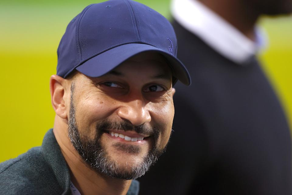 Actor Keegan-Michael Key looks on prior to Super Bowl LIV between the San Francisco 49ers and the Kansas City Chiefs at Hard Rock Stadium on February 02, 2020 in Miami, Florida. (Photo by Ronald Martinez/Getty Images)