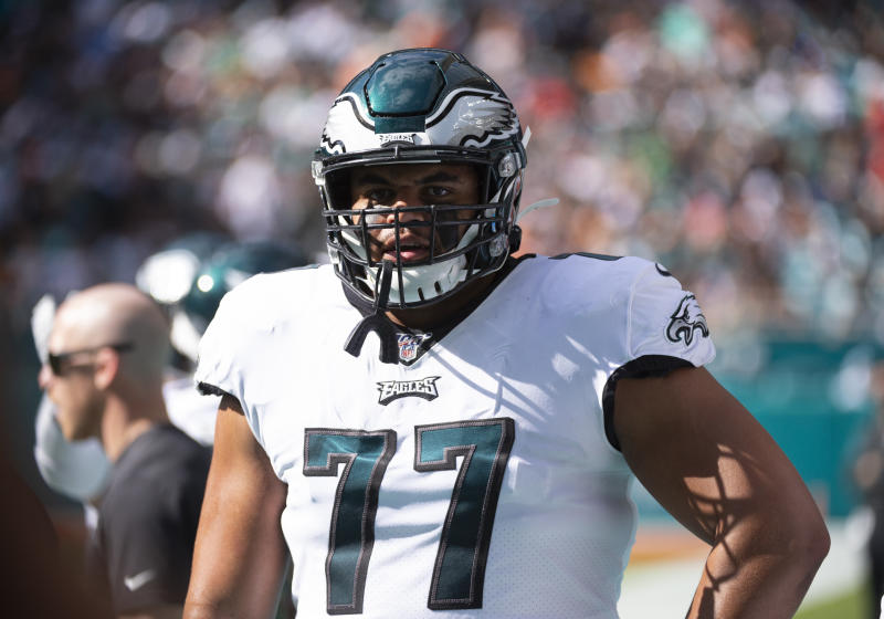 Philadelphia Eagles offensive tackle Andre Dillard struggled some as a rookie but likely will be given every shot to win the left tackle job in 2020. (Photo by Doug Murray/Icon Sportswire via Getty Images)