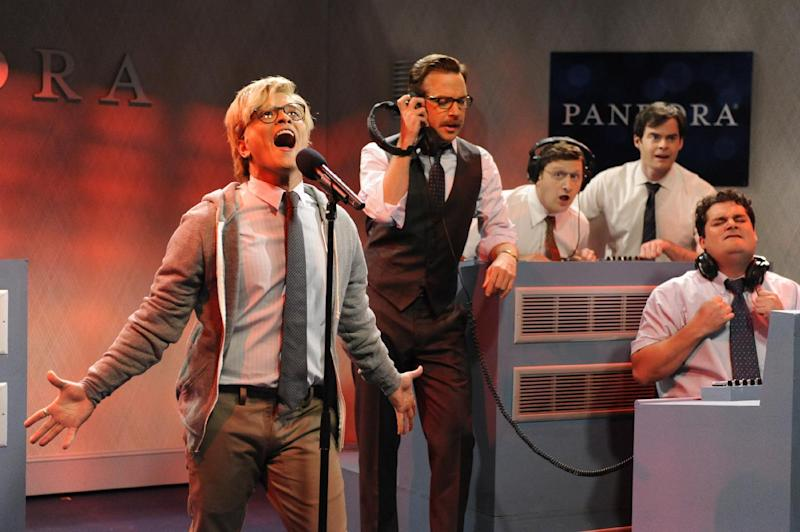"This Oct. 20, 2012 photo released by NBC shows, from left, Bruno Mars, Jason Sudeikis, Tim Robinson, Bill Hader and Bobby Moynihan during ""Saturday Night Live,"" in New York. Mars' recent appearance on ""Saturday Night Live"" was more like Saturday Night Fever: He says he had so much fun hosting the show that he'd be happy to do it again. ""Whatever 'SNL' wants from me, they can always call me,"" the smiling 27-year-old said in an interview Wednesday afternoon. ""I don't know who told them I can act or anything 'cause I can't. I don't know what they saw. (But) whatever they need from me, they can get.""  (AP Photo/NBCUniversal, Dana Edelson)"