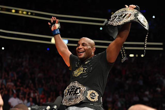 Daniel Cormier celebrates his victory over Stipe Miocic in their UFC heavyweight championship fight at UFC 226 inside T-Mobile Arena on July 7, 2018 in Las Vegas. (Getty Images)