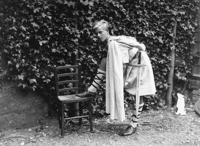"""Prince Philip of Greece dressed for the Gordonstoun school's production of 'Macbeth,' in Scotland, July 1935.<span class=""""copyright"""">Fox Photos/Getty Images</span>"""