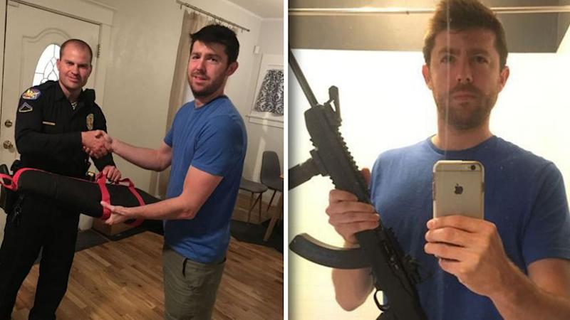 Jonathan Pring went public with his decision to hand in his Walther Arms PK380 and Ruger 10/22 tactical rifle to Phoenix police this week, sharing the photos to Facebook. Source: Facebook