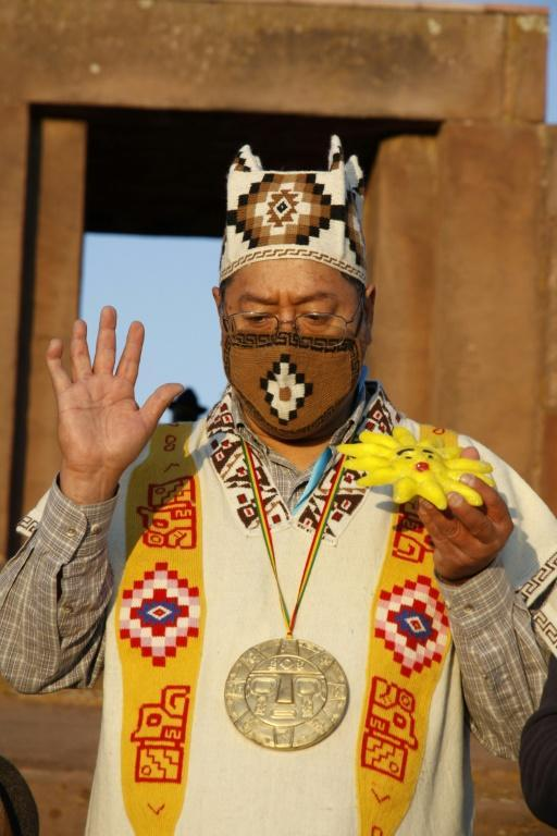 Two days before his inauguration as president, Luis Arce took part in a symbolic traditional pre-Incan ceremony in Tiwanaku, a major pre-Columbian archaeological site, to pay his respects to the mother earth deity