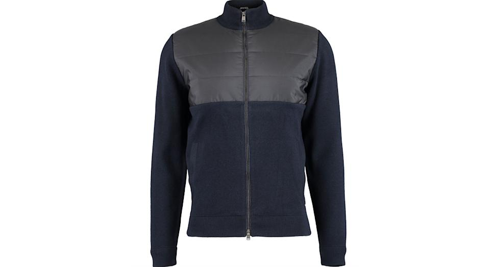 HUGO BOSS Navy Wool Blend Zip Up Cardigan