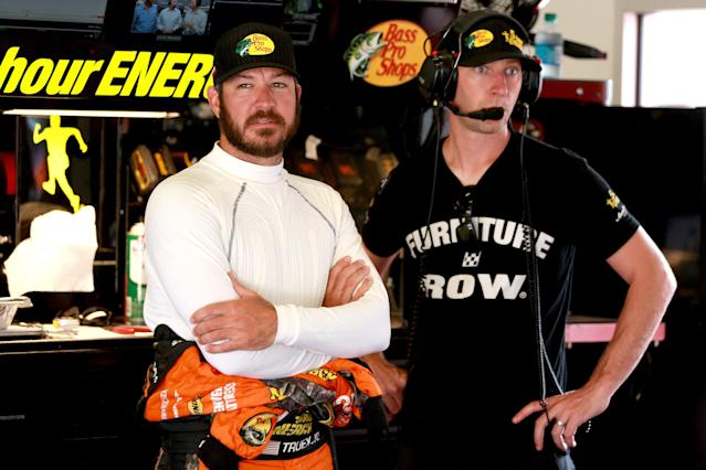 "<a class=""link rapid-noclick-resp"" href=""/nascar/sprint/drivers/380/"" data-ylk=""slk:Martin Truex Jr"">Martin Truex Jr</a>. (L) needs a new team in 2019. Crew chief Cole Pearn will likely follow him. (Getty)"