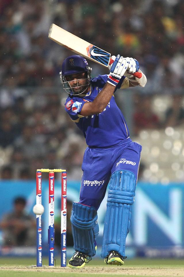 Ajinkya Rahane of Rajasthan Royals drives a delivery during the 2nd Qualifying match of the Pepsi Indian Premier League between The Rajasthan Royals and the Mumbai Indians  held at the Eden Gardens Stadium in Kolkata on the 24th May 2013..Photo by Shaun Roy-IPL-SPORTZPICS    ..Use of this image is subject to the terms and conditions as outlined by the BCCI. These terms can be found by following this link:..https://ec.yimg.com/ec?url=http%3a%2f%2fwww.sportzpics.co.za%2fimage%2fI0000SoRagM2cIEc&t=1501239484&sig=SBOd6C_3.Ct3BLq5csldDg--~C