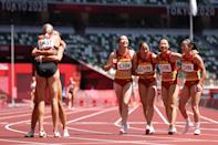 <p>Yongli Wei, Guifen Huang, Manqi Ge and Xiaojing Liang of Team China celebrate after coming in third in round one of the Women's 4 x 100m Relay Heat 2 on day thirteen of the Tokyo 2020 Olympic Games at Olympic Stadium on August 05, 2021 in Tokyo, Japan. (Photo by Christian Petersen/Getty Images)</p>
