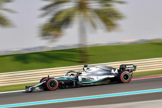 Mercedes' British driver Lewis Hamilton steers his car during the third practice session at the Yas Marina Circuit in Abu Dhabi, a day ahead of the final race of the season, on November 30, 2019. (AFP Photo/GIUSEPPE CACACE)