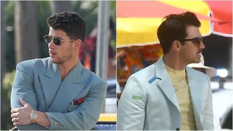 c74258749ae2 Nick and Joe Jonas Get an '80s Makeover for Music Video Shoot in Miami
