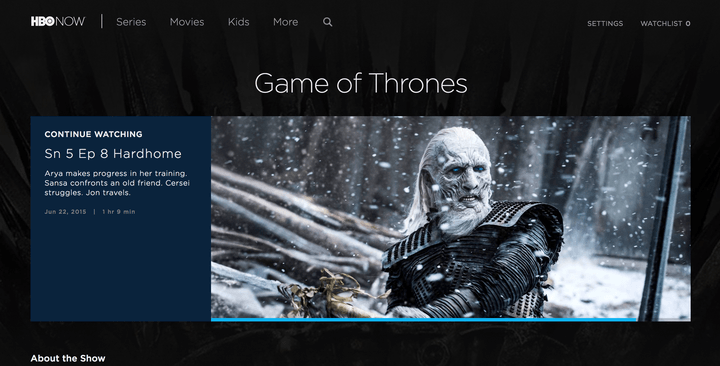 how to watch Game of Thrones online HBO Now interface