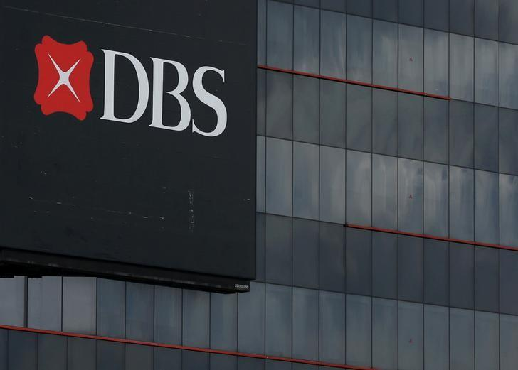 A logo of DBS is pictured outside an office in Singapore