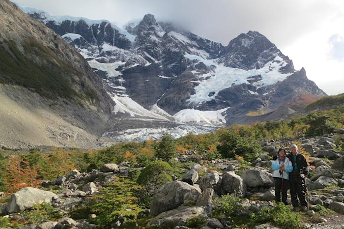 Joyce and Reuben hiking in the Patagonian mountains in South America