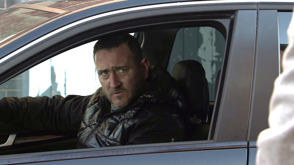 FROM ITV  STRICT EMBARGO - No Use Before Tuesday 9th March 2021  Coronation Street - Ep 10273  Monday 15th March 2021 - 1st Ep  Leanne Tilsley [JANE DANSON] masks her panic. Approaching HarveyÕs [WILL MELLOR] car with trepidation she hands him the £1k, telling him sheÕs SimonÕs Mum and thatÕs all heÕs getting. Harvey makes it clear he wants the rest or heÕll put them in hospital.   Picture contact David.crook@itv.com   Photographer - Danielle Baguley  This photograph is (C) ITV Plc and can only be reproduced for editorial purposes directly in connection with the programme or event mentioned above, or ITV plc. Once made available by ITV plc Picture Desk, this photograph can be reproduced once only up until the transmission [TX] date and no reproduction fee will be charged. Any subsequent usage may incur a fee. This photograph must not be manipulated [excluding basic cropping] in a manner which alters the visual appearance of the person photographed deemed detrimental or inappropriate by ITV plc Picture Desk. This photograph must not be syndicated to any other company, publication or website, or permanently archived, without the express written permission of ITV Picture Desk. Full Terms and conditions are available on  www.itv.com/presscentre/itvpictures/terms