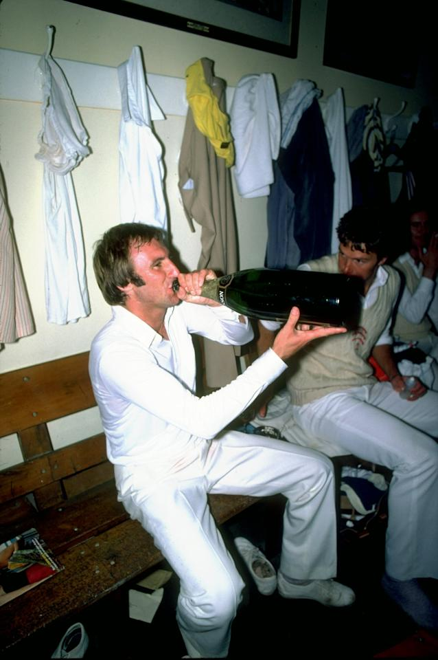 Undated:  John Lever of England relaxes in the dressing room after a match. \ Mandatory Credit: Adrian  Murrell/Allsport