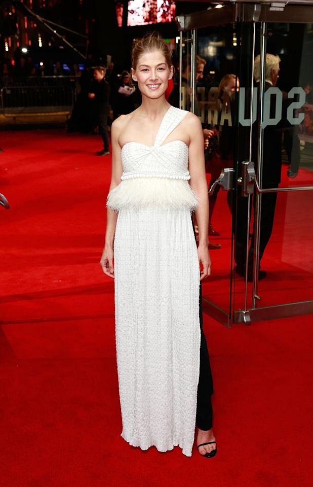 <p>The British star pulled off a tricky look: A Givenchy dress over a pair of trousers. Emma Watson, who's worked the look on a number of occasions herself, would be proud. <i>[Photo: Getty]</i></p>