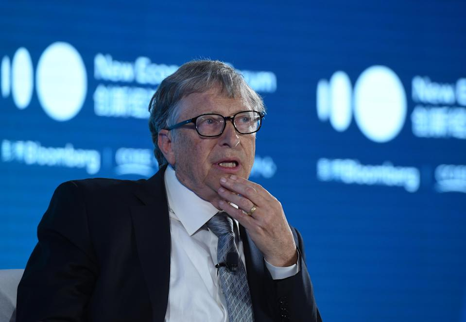 BEIJING, CHINA - NOVEMBER 21: Bill & Melinda Gates Foundation Chairman Bill Gates speaks during 2019 New Economy Forum at China Center for International Economic Exchanges (CCIEE) on November 21, 2019 in Beijing, China. 2019 New Economy Forum themed on 'A new community for the new economy' is held on November 20-22 in Beijing. (Photo by Hou Yu/China News Service/VCG via Getty Images)