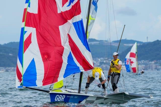 Dylan Fletcher and Stuart Bithell compete during the 49er men's race