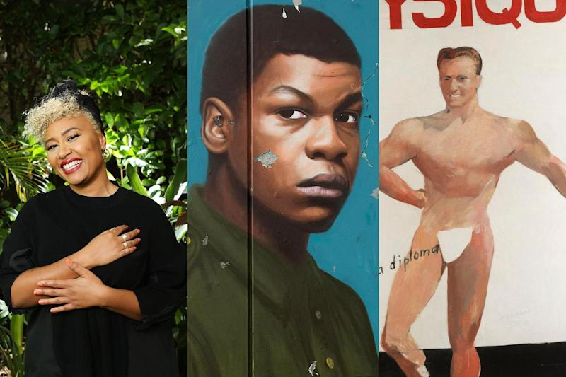 Spring fling: there's plenty of fun to be had this spring, from (L-R) catching an Emeli Sandé concert to watching John Boyega at the Woyzeck to wandering around the Queer British Art exhibition, which features work from David Hockney: Rohan Kelly/Newspix/REX/Yageo Foundation