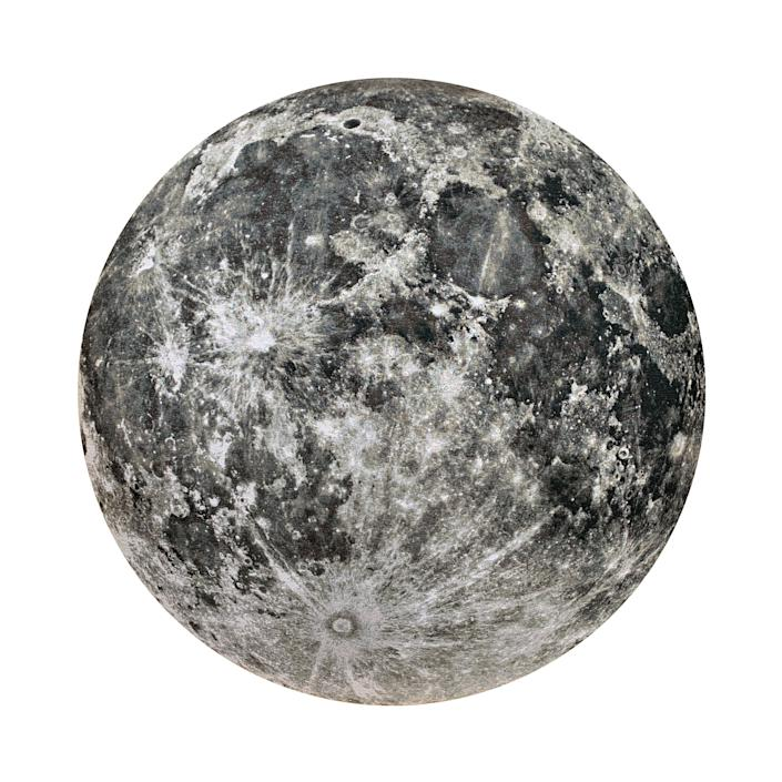 Moon, 2007, a jacquard tapestry by artist Jeff Sanders, was made at a print shop using a computer algorithm.