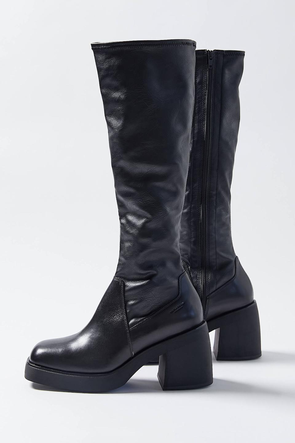 """<br><br><strong>Vagabond Shoemakers</strong> Brooke Knee-High Boot, $, available at <a href=""""https://go.skimresources.com/?id=30283X879131&url=https%3A%2F%2Fwww.urbanoutfitters.com%2Fshop%2Fvagabond-shoemakers-brooke-knee-high-boot%3Fcategory%3Dboots-for-women%26color%3D001%26quantity%3D1"""" rel=""""nofollow noopener"""" target=""""_blank"""" data-ylk=""""slk:Urban Outfitters"""" class=""""link rapid-noclick-resp"""">Urban Outfitters</a>"""