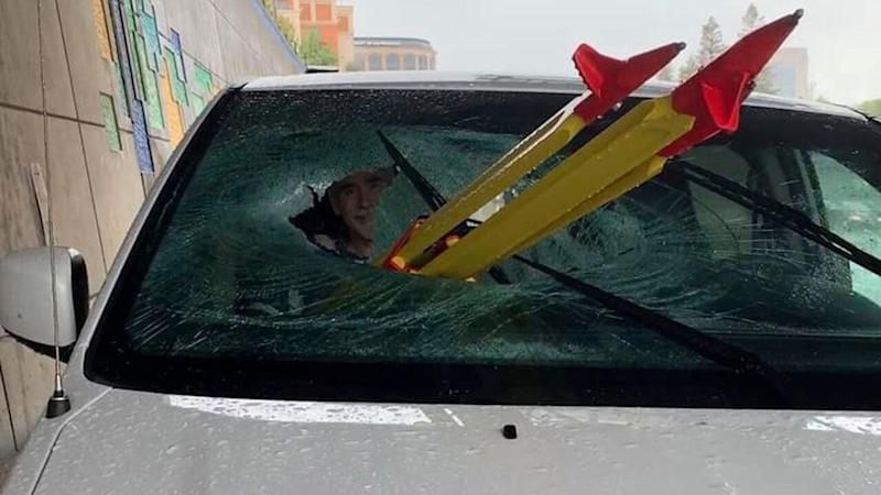 The car passenger survived after he was impaled by a tripod, pictured, on a California freeway. Source: AP