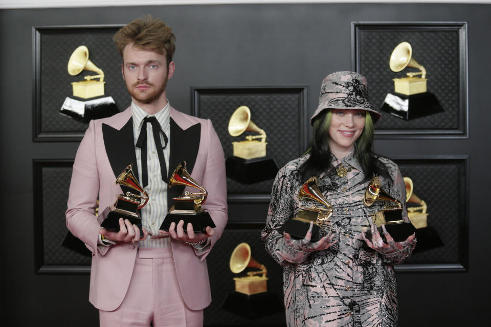 Billie Eilish and Finneas at the 63rd Grammy Awards. (Photo by Francis Specker/CBS via Getty Images)