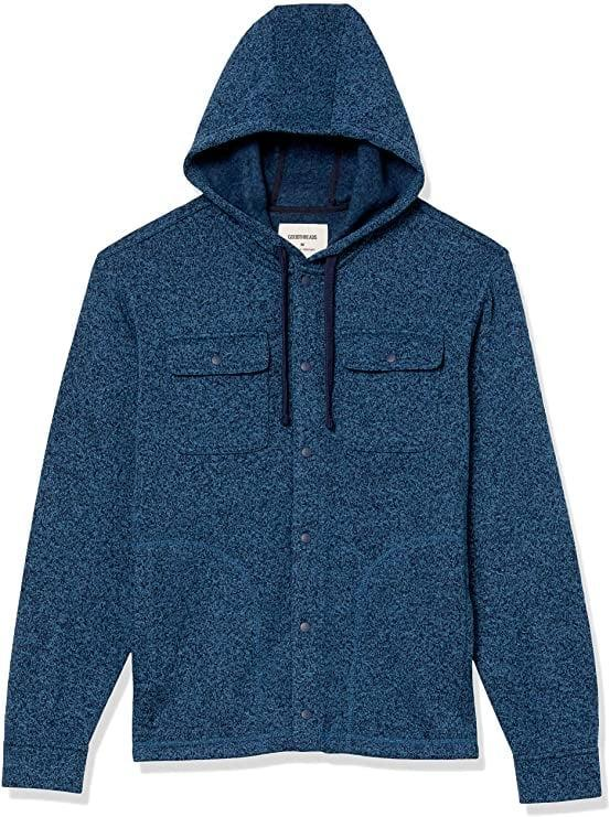 <p>He'll stay warm in this <span>Goodthreads Sweater-Knit Fleece Shirt Jacket with Hood</span> ($36).</p>