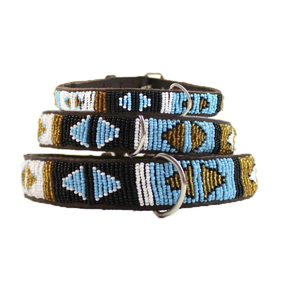 """<p>Stitched by hand using glass beads, Aspiga's ornate leather collars are sustainably made and add a little sparkle to your pup's look – ensuring that they're the bark of the park.</p><p>From £26, <a href=""""https://www.aspiga.com/collections/dog-accessories/products/dog-collar-turquoise-arrow"""" rel=""""nofollow noopener"""" target=""""_blank"""" data-ylk=""""slk:Aspiga"""" class=""""link rapid-noclick-resp"""">Aspiga</a>.</p>"""