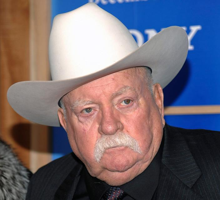 """In this Monday, Dec. 14, 2009 file photo, Actor Wilford Brimley attends the premiere of 'Did You Hear About The Morgans' at the Ziegfeld Theater in New York. Wilford Brimley, who worked his way up from stunt performer to star of film such as """"Cocoon"""" and """"The Natural,"""" has died. He was 85. Brimley's manager Lynda Bensky said the actor died Saturday morning, Aug. 1, 2020 in a Utah hospital."""