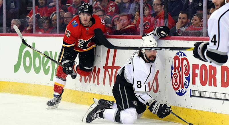 The beef between Matthew Tkachuk of the Calgary Flames (left) and Drew Doughty of the Los Angeles Kings (right) continues to grow. (Photo by Brett Holmes/Icon Sportswire via Getty Images)