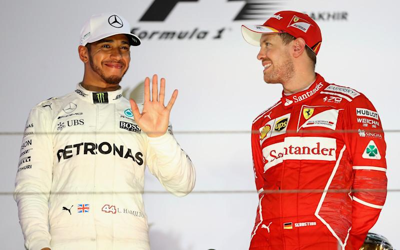 Lewis Hamilton and Sebastian Vettel at the Bahrain GP - Getty Images Europe