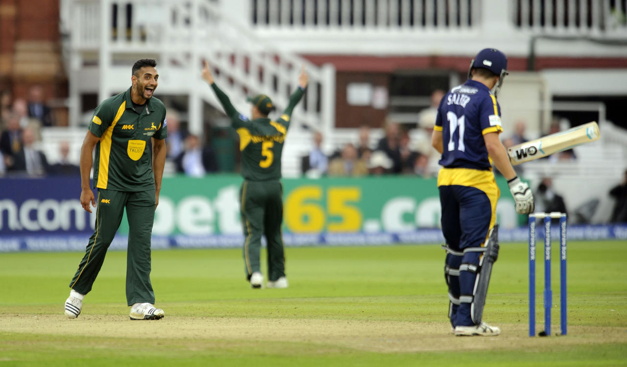 Nottinghamshire's Ajmal Shahzad celebrates claiming the wicket of Glamorgan's Andrew Salter during the Yorkshire Bank Pro40 Final at Lord's Cricket Ground, London.