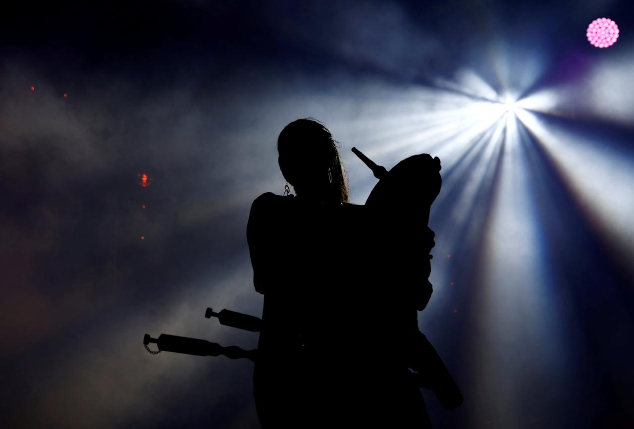 Sandra Vabarna of Estonian folk band Trad.Attack! plays the bagpipes during the Malta World Music Festival at Fort St Elmo in Valletta, Malta May 19, 2018. Picture taken May 19, 2018. REUTERS/Darrin Zammit Lupi     TPX IMAGES OF THE DAY
