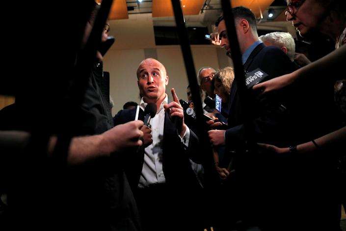 Rep. Max Rose, D-N.Y., speaks to the media following a town hall in Staten Island in October 2019. (Andrew Kelly/Reuters)