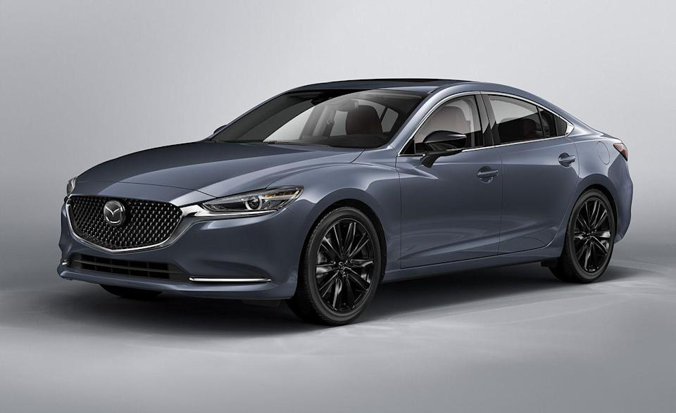"""<p>We suspect Mazda will bring its mid-size sedan back as quickly as it made it disappear—and without rabbits or hats. The <a href=""""https://www.caranddriver.com/mazda/mazda-6"""" rel=""""nofollow noopener"""" target=""""_blank"""" data-ylk=""""slk:Mazda 6"""" class=""""link rapid-noclick-resp"""">Mazda 6</a>, which competed against the <a href=""""https://www.caranddriver.com/honda/accord"""" rel=""""nofollow noopener"""" target=""""_blank"""" data-ylk=""""slk:Honda Accord"""" class=""""link rapid-noclick-resp"""">Honda Accord</a> and <a href=""""https://www.caranddriver.com/hyundai/sonata"""" rel=""""nofollow noopener"""" target=""""_blank"""" data-ylk=""""slk:Hyundai Sonata"""" class=""""link rapid-noclick-resp"""">Hyundai Sonata</a> in the <a href=""""https://www.caranddriver.com/features/g8514934/best-midsize-family-sedans/"""" rel=""""nofollow noopener"""" target=""""_blank"""" data-ylk=""""slk:family sedan segment"""" class=""""link rapid-noclick-resp"""">family sedan segment</a>, is taking some time off. A funny thing about the sedan from Japan: Unlike Accord, Sonata, or Toyota Camry, it didn't offer a hybrid trim. Instead, its 187-hp base engine delivered an impressive 37 mpg during our highway fuel-economy test. It wasn't obvious by driving the 2021 Mazda 6 that it was an outgoing model. Shoot, they even gave it an extra 10 lb-ft of torque and a special <a href=""""https://www.caranddriver.com/news/a33595156/2021-mazda-cx-5-cx-9-6-carbon-edition/"""" rel=""""nofollow noopener"""" target=""""_blank"""" data-ylk=""""slk:Carbon Edition"""" class=""""link rapid-noclick-resp"""">Carbon Edition</a> trim—the ol' """"give it black wheels and some dark paint"""" trick. The available 250-hp turbo engine is a delight, yet lags behind both the Accord Touring and Sonata N Line in terms of performance. If the Mazda 6 returns, it will likely use <a href=""""https://www.caranddriver.com/news/a27420382/mazda-rwd-platform-inline-six/"""" rel=""""nofollow noopener"""" target=""""_blank"""" data-ylk=""""slk:an inline-six with a 48-volt hybrid system"""" class=""""link rapid-noclick-resp"""">an inline-six with a 48-volt hybrid system</a> and rear-wheel driv"""